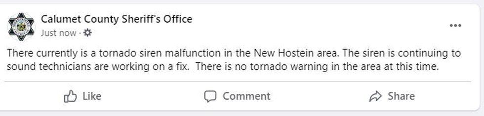 Malfunctioning tornado siren in New Holstein