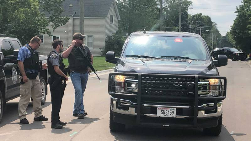 Police at the scene of an incident in Oconto Falls. Aug. 6, 2021.