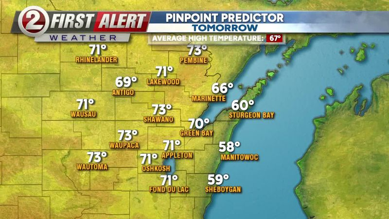 Highs Sunday will get to near 70 away from Lake Michigan