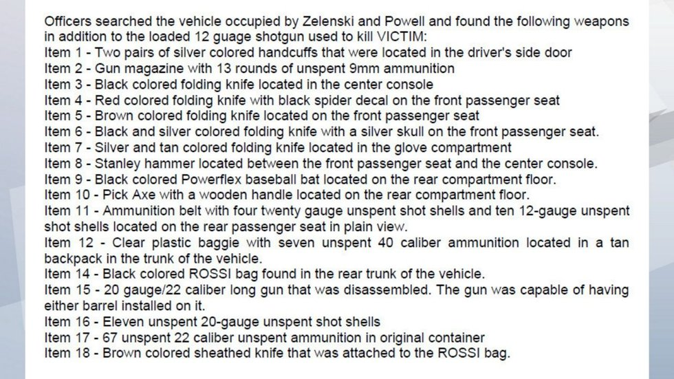 The criminal complaint lists weapons located by police in the vehicle.