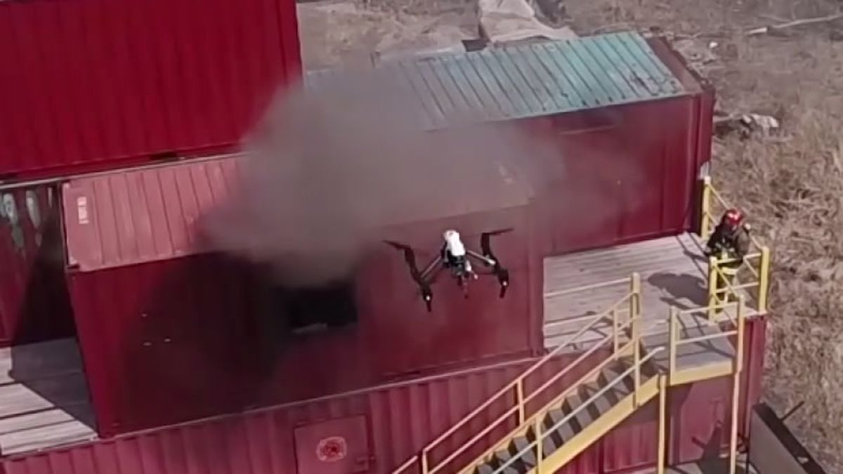 Ripon's police and fire drone flies over a fire training exercise on April 11, 2018 (WBAY...