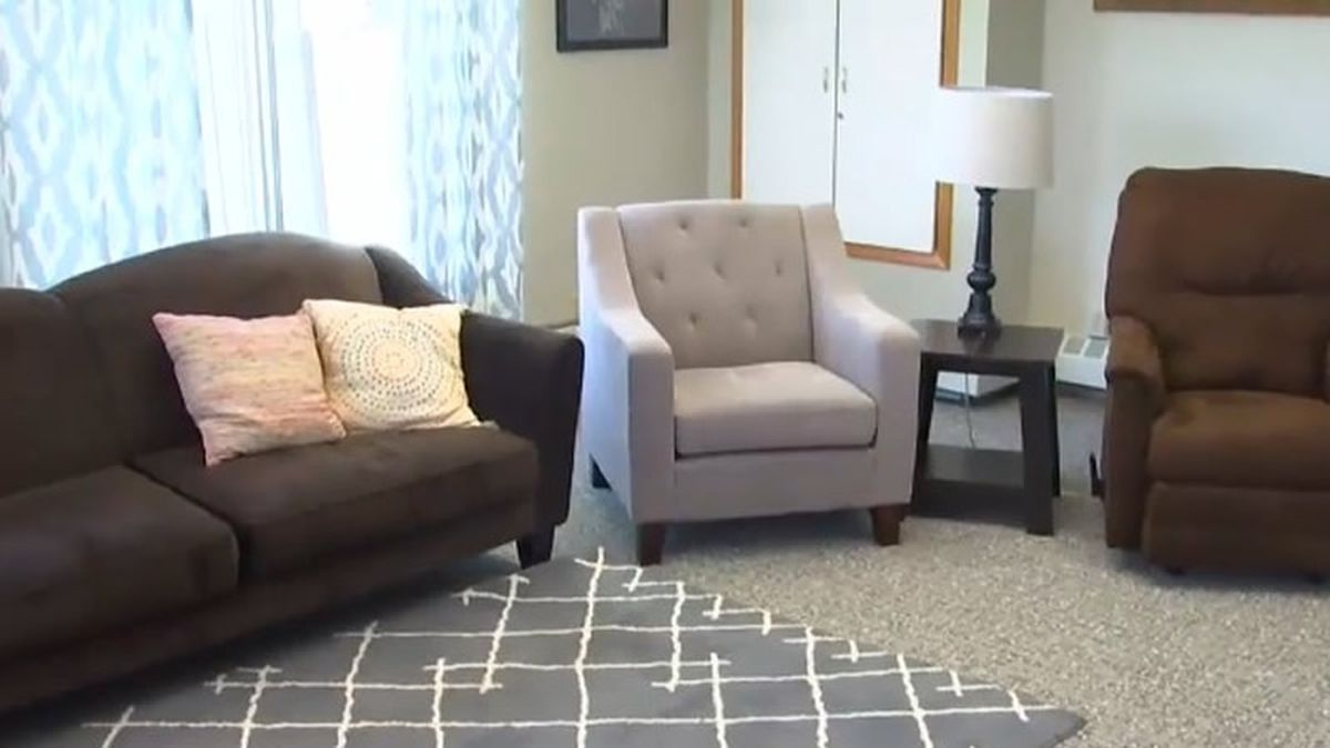 Newly renovated living room at Freedom House for homeless families (WBAY photo)