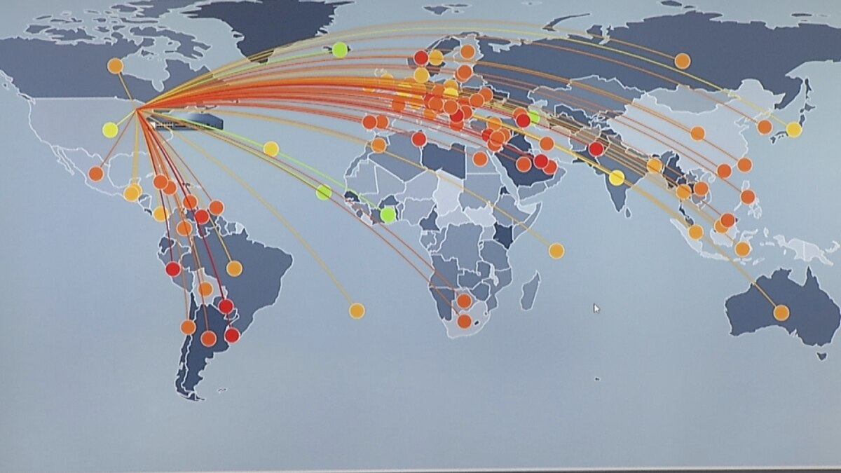 A map shows cyber attacks coming from around the world. (WBAY Photo)