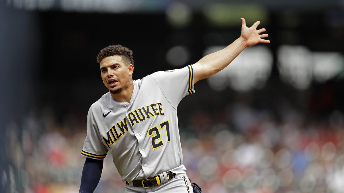 Milwaukee Brewers' Willy Adames gestures in the ninth inning of a baseball game against the...
