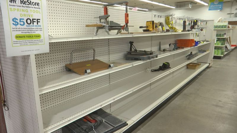 Empty aisles for tool selection at GB ReStore