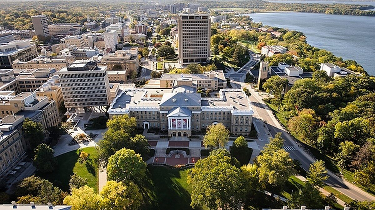 The central University of Wisconsin-Madison campus are pictured in an aerial view during autumn...