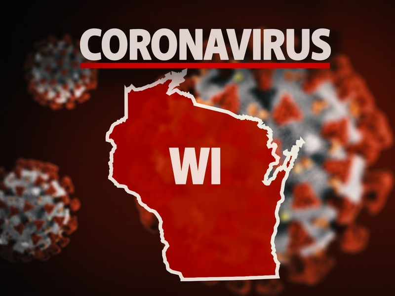 WISCONSIN state map with CORONAVIRUS lettering, on texture, finished graphic