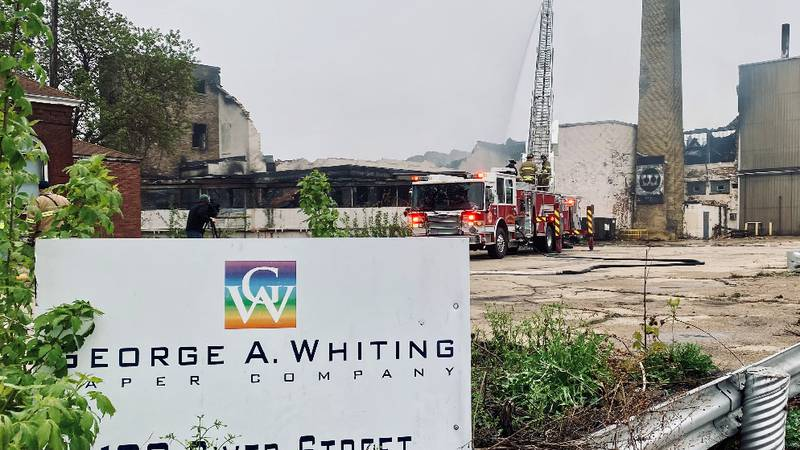 Firefighters battle a fire at the George A. Whiting Mill in Menasha. May 3, 2021.
