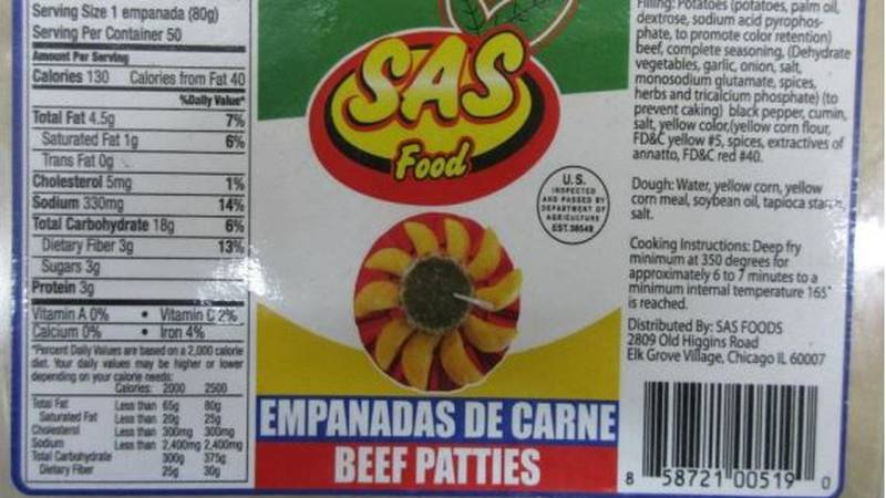 According to the U.S. Department of Agriculture, the empanadas were shipped without being...