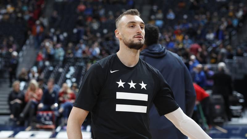 Washington Wizards forward Sam Dekker (8) in the first half of an NBA basketball game Sunday,...