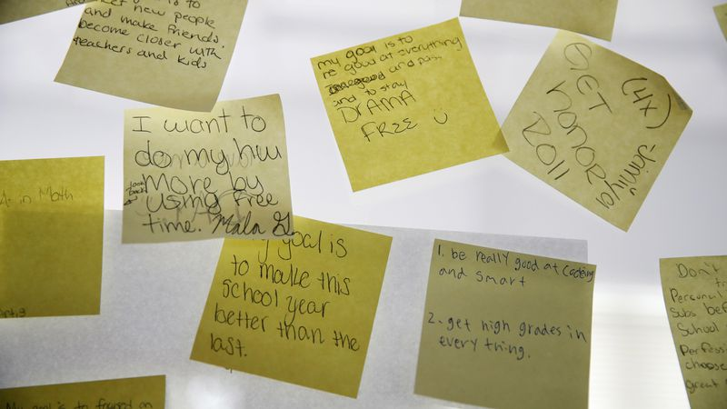 Students of the Washington Leadership Academy have written their positive hopes for the school...