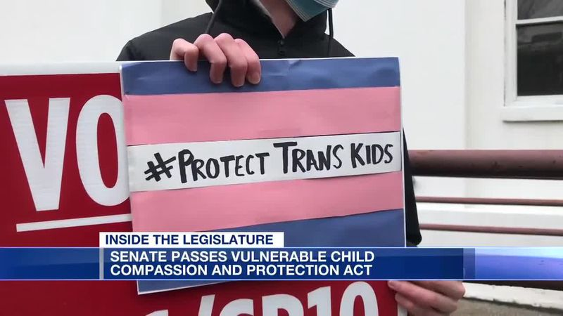 Several protesters were at the Alabama State House to speak against a bill banning transgender...