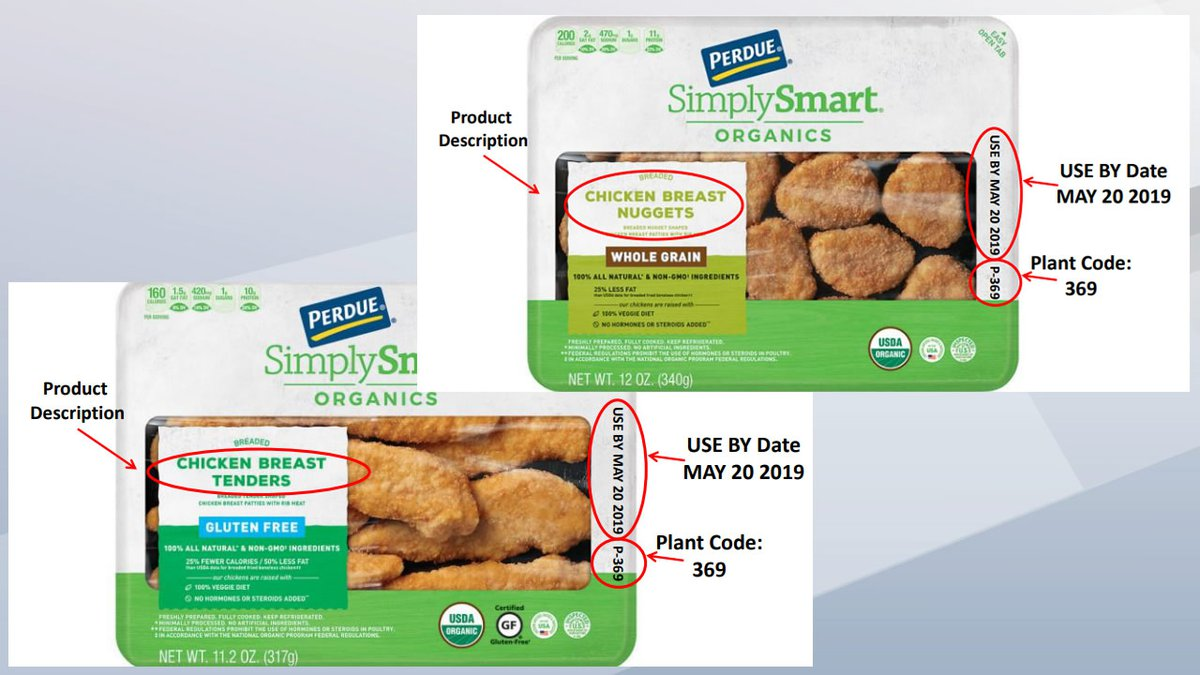USDA images of two of the five Perdue Foods ready-to-eat chicken products being recalled for...