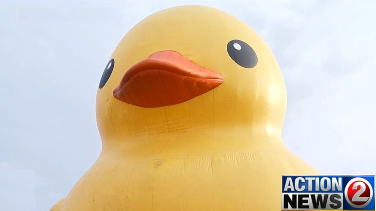 World's Largest Rubber Duck at Nicolet Bank Tall Ships. WBAY Photo