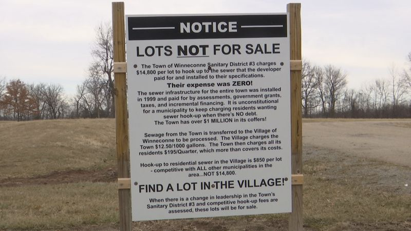 Developer posted this sign at the entrance to Olen Shores Estates