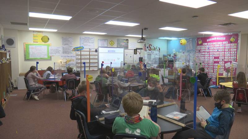 Students at Luxemburg-Casco Intermediate School learn with social distancing measures in place.