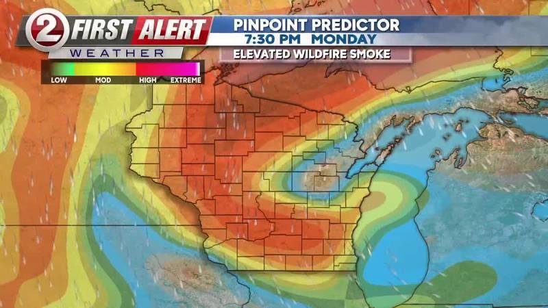 Wildfire smoke over Wisconsin