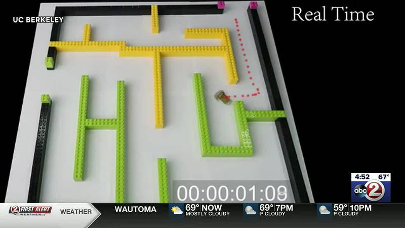 Insect-sized robot navigates a maze