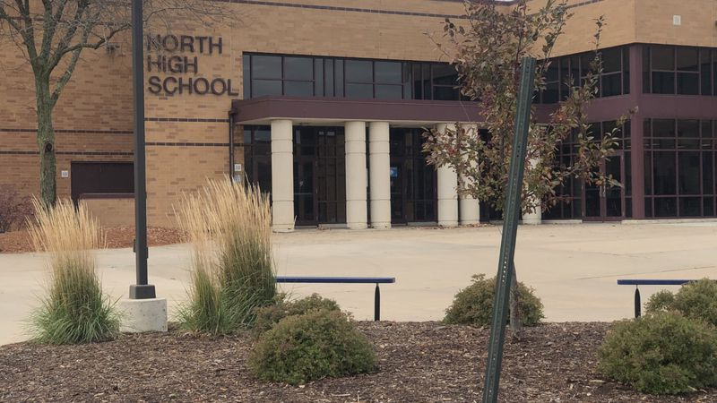 An exterior shot of the commons entrance at Appleton North High School.
