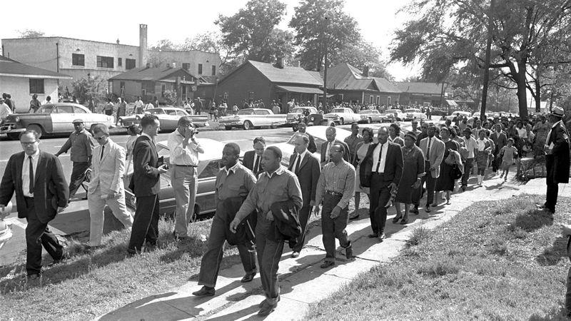 FILE - Rev. Ralph Abernathy, left, and Rev. Martin Luther King Jr. lead a column of...