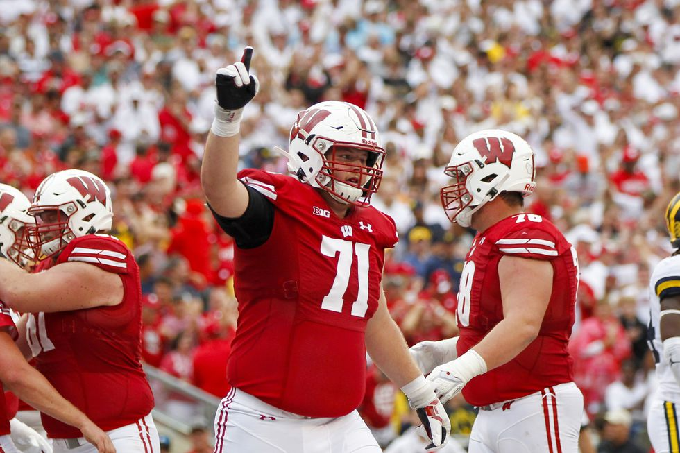 Wisconsin offensive lineman Cole Van Lanen (71) during the first half of an NCAA college...