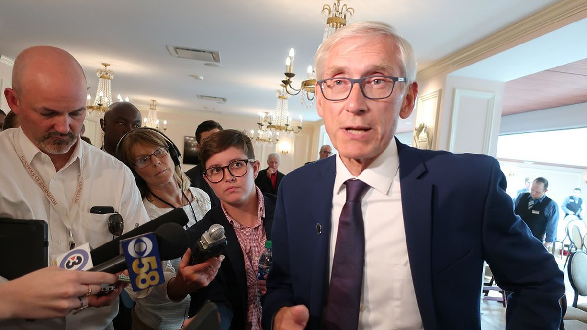 Wisconsin Gov. Tony Evers speaks with the media at an event Tuesday, Sept. 24, 2019, in Madison, Wis.  (AP Photo/Scott Bauer)
