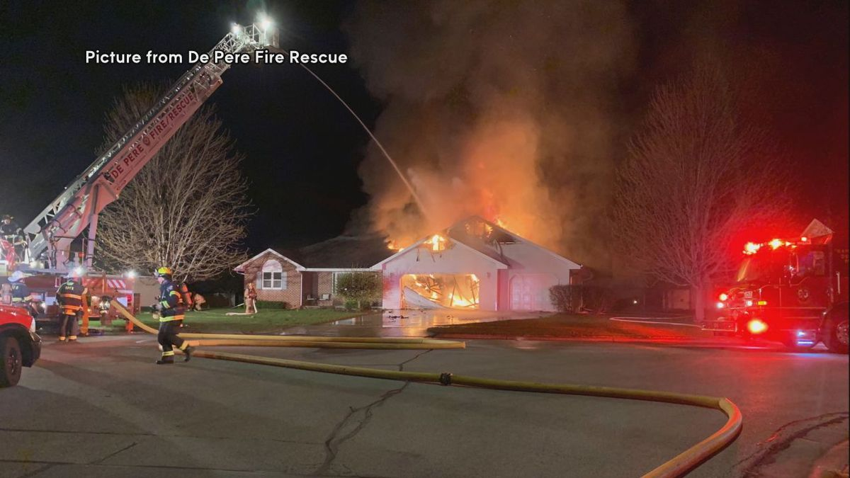 Fire crews battle a house fire on Jordan Road in De Pere on the night of Wednesday, May 6, 2020. (Picture provided by De Pere Fire Rescue)