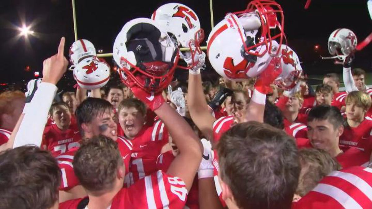 The Kimberly Papermakers football team celebrates after defeating Appleton North 45-14 on...