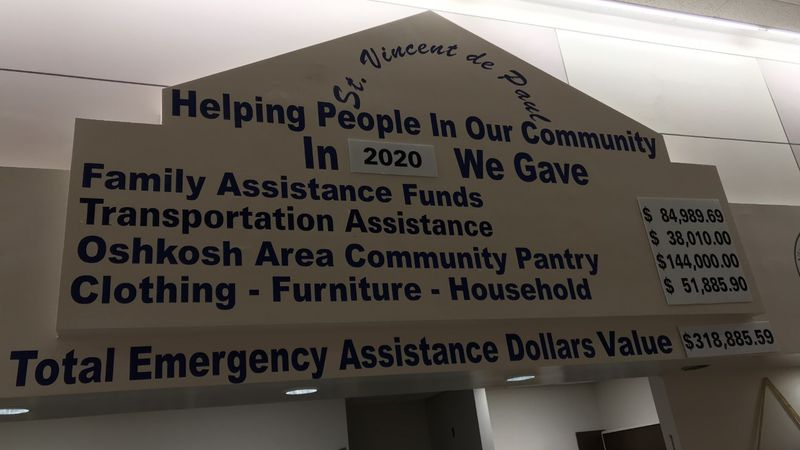 A tote board in the St. Vincent de Paul Thrift Store in Oshkosh displays the emergency...