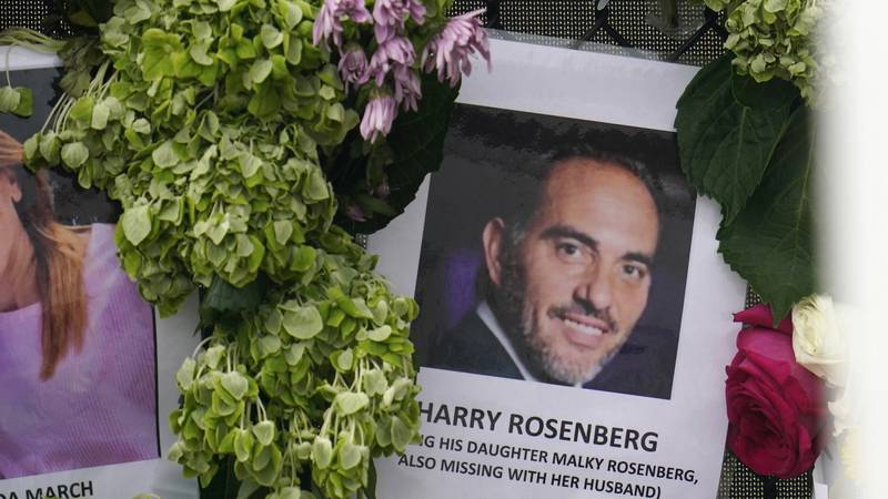 FILE - In this June 29, 2021, file photo, an image of Harry Rosenberg, missing since an...