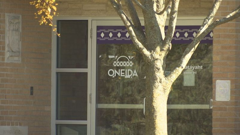 Outside the offices of Oneida Nation