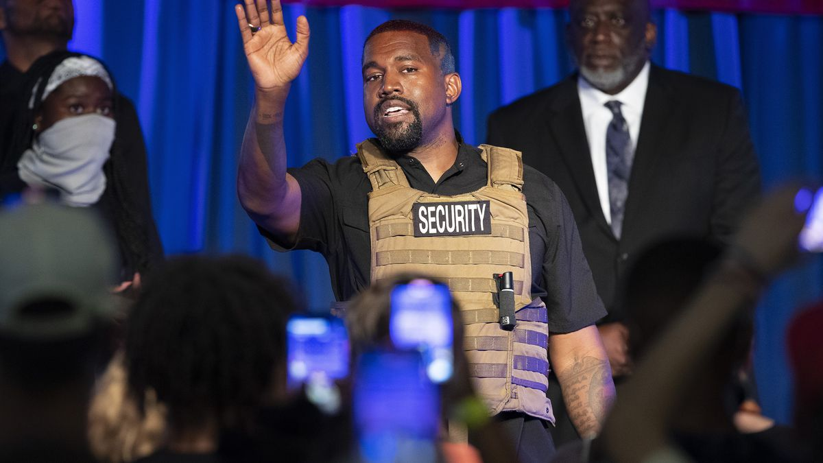 FILE - In this Sunday, July 19, 2020, file photo, Kanye West makes his first presidential campaign appearance, in North Charleston, S.C. West filed signatures on Wednesday, Aug. 5, 2020, in Ohio, to run for president as an independent candidate in November.