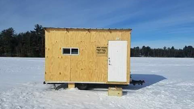 Amanda Petersen of Oconto Falls says an ice shanty built by her late husband (pictured here)...