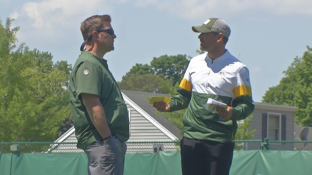 The Packers head coach and GM chat at an OTA practice on June 2, 2021