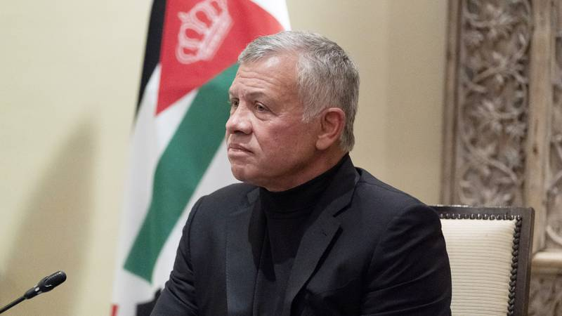 FILE - In this May 26, 2021 file photo, Jordan's King Abdullah II listens during a meeting with...