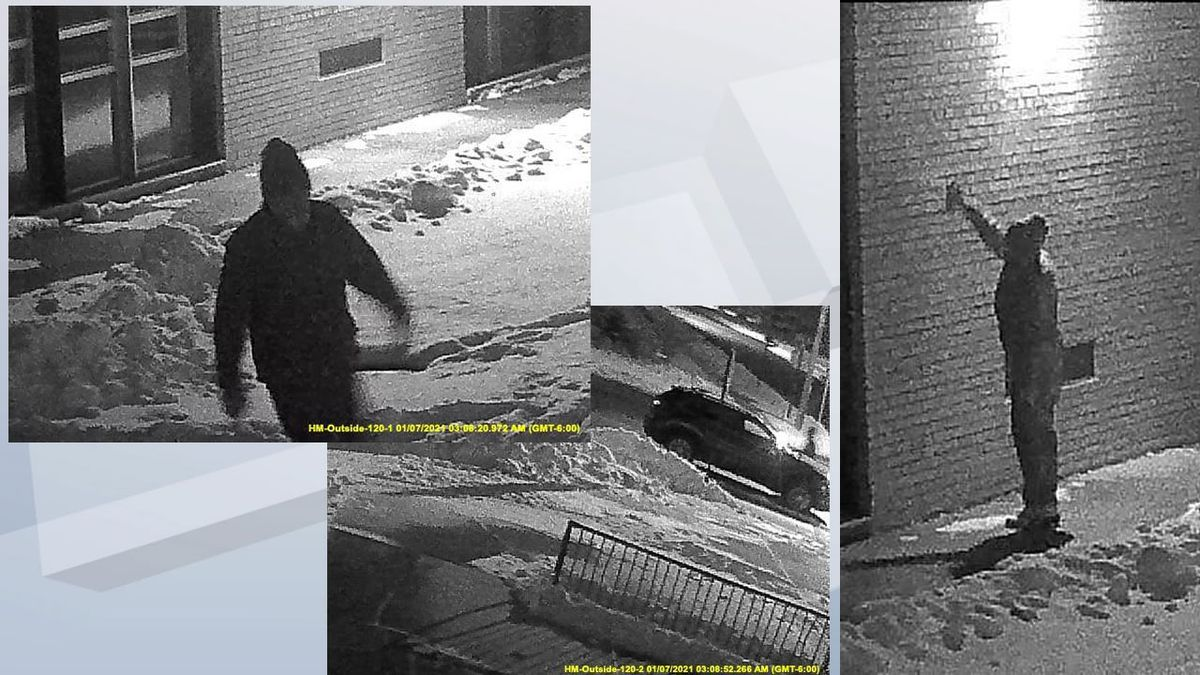 Security camera photos from graffiti vandalism in Neenah early in the morning on January 7, 2021