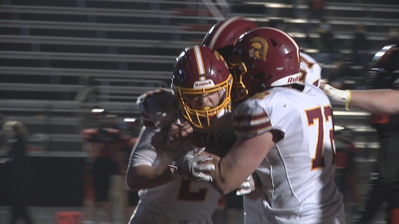 Luxemburg-Casco celebrates after defeating West De Pere 21-20 on Thursday night in the WIAA...