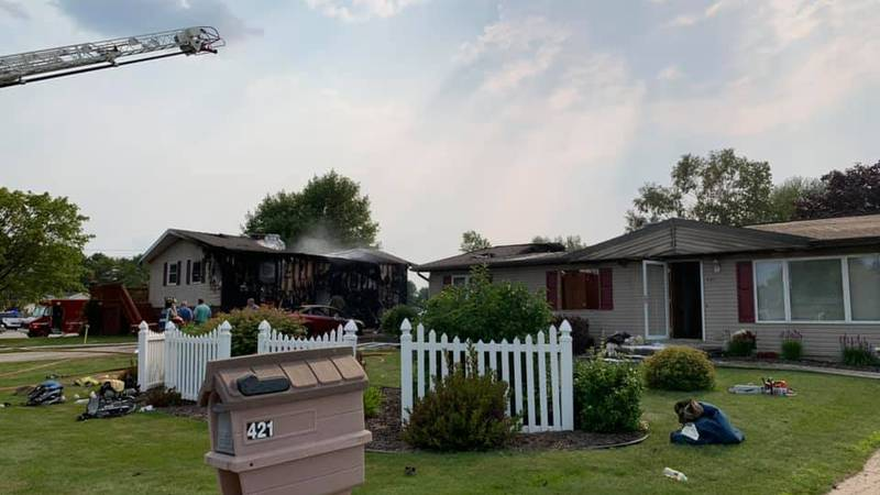 Two homes were damaged during a fire in Algoma early Tuesday afternoon.