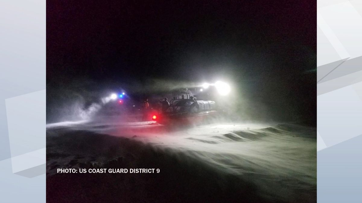 Coast Guard Station Sturgeon Bay and Department of Natural Resources crews direct seven stranded ice fishermen into airboats near Sturgeon Bay, Wisconsin, Jan. 29, 2019. On-scene temperatures were minus 4 degrees Fahrenheit with a wind chill factor of minus 30 degrees. U.S. Coast Guard photo by DNR officer Jordan Resop.
