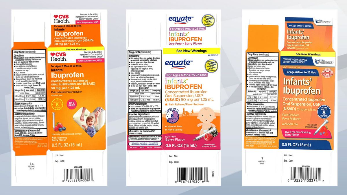 Boxes of infant ibuprofen under CVS Health (CVS), Equate (Walmart) and Family Wellness (Family...