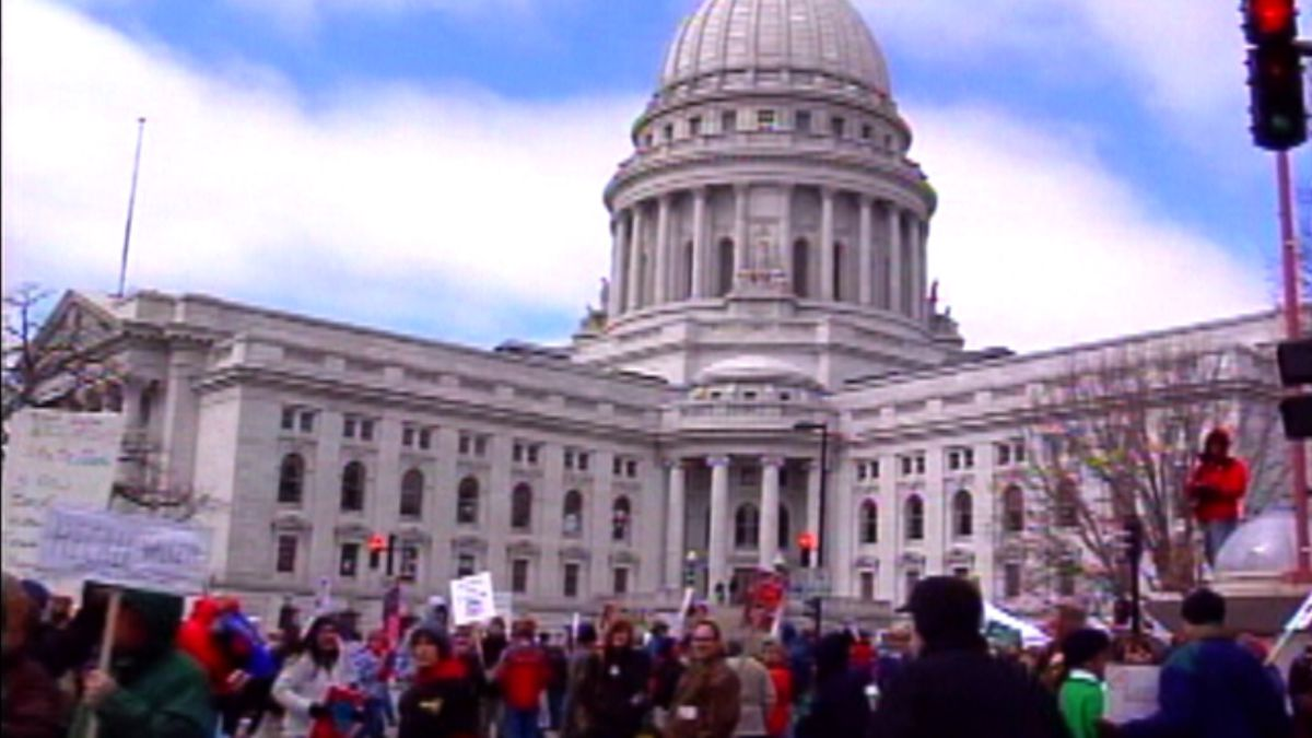 People protesting Act 10 outside the Wisconsin Capitol in 2011