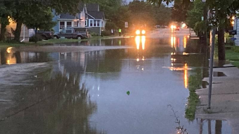 Flooding in Oshkosh at 9th and Ohio. July 15, 2021