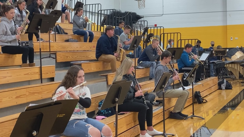 Algoma High School band members at practice.