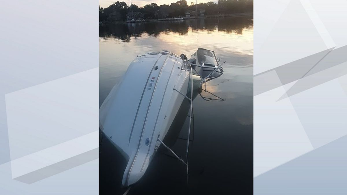 Pictured: A 26-foot boat involved in a two boat collision Saturday in Oshkosh near Rainbow Park.