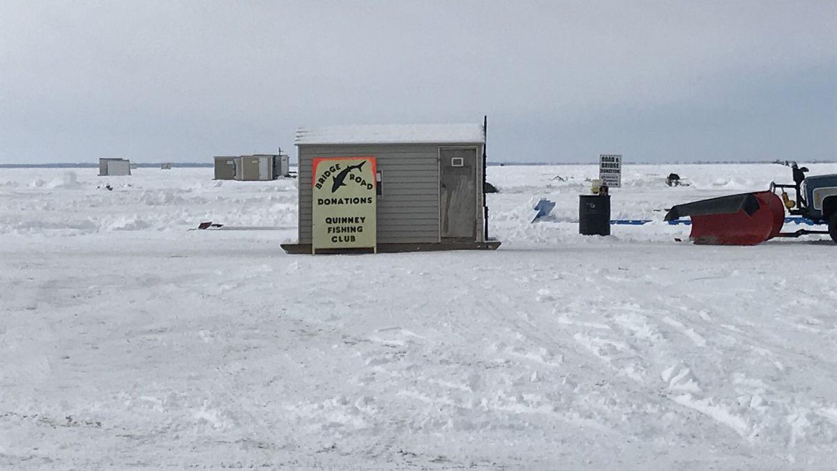 Shanties line the shore of Lake Winnebago for sturgeon spearing season.