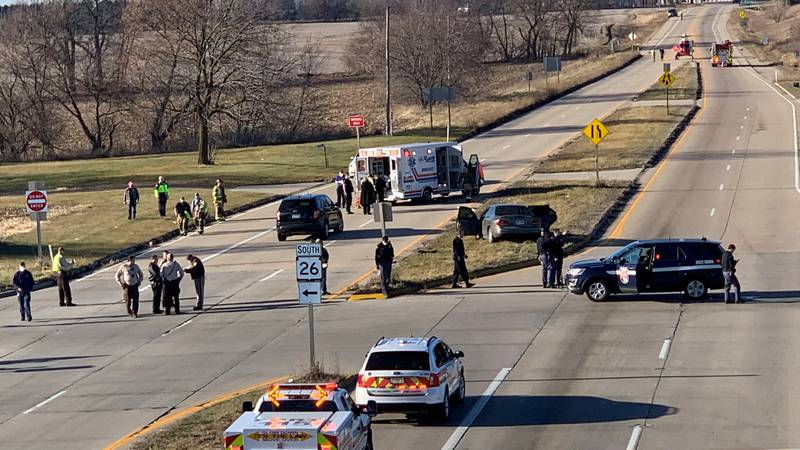 The Jefferson Co. Sheriff's Office has closed U.S. 12 at Hwy. 26 near Fort Atkinson.