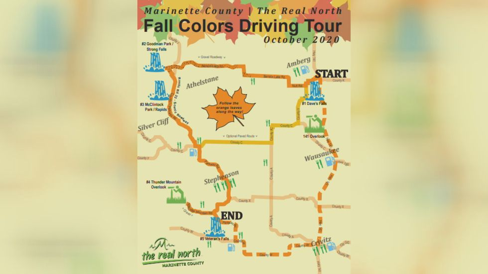 Marinette Co. Fall Colors Driving Map