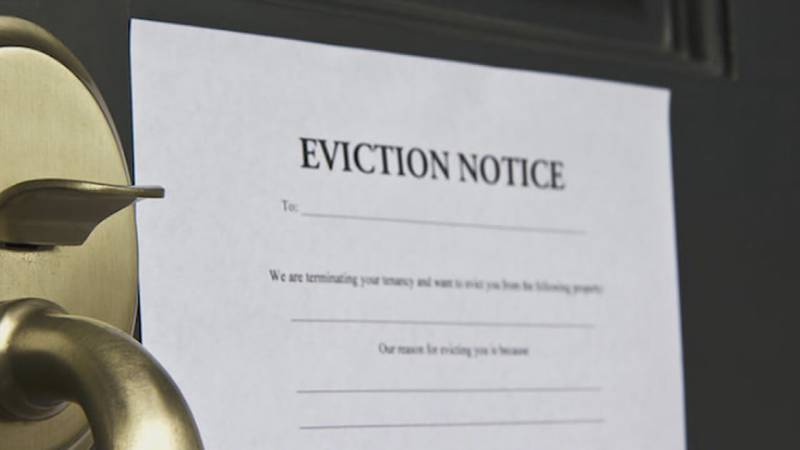 An eviction notice on a door.