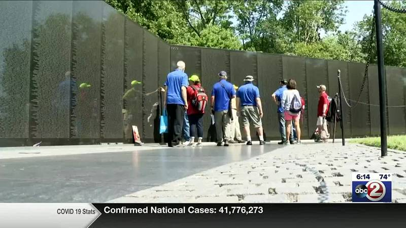 A group of the Wisconsin veterans who visited the Vietnam Memorial Wall in Washington, DC