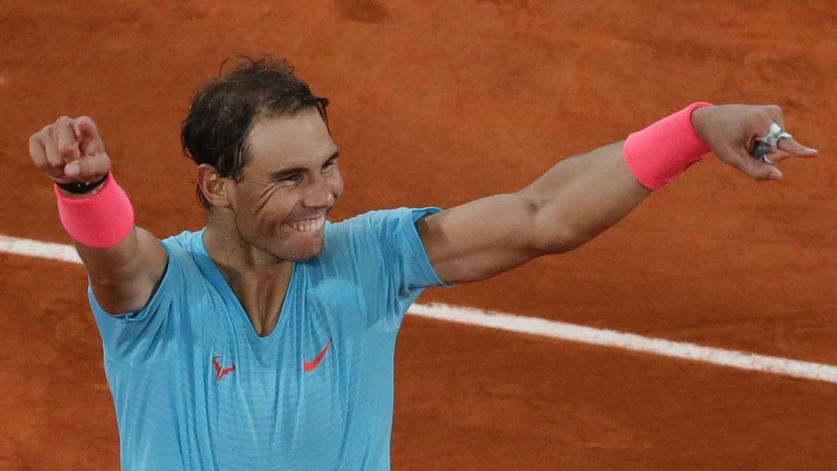 Spain's Rafael Nadal celebrates winning the final match of the French Open tennis tournament...